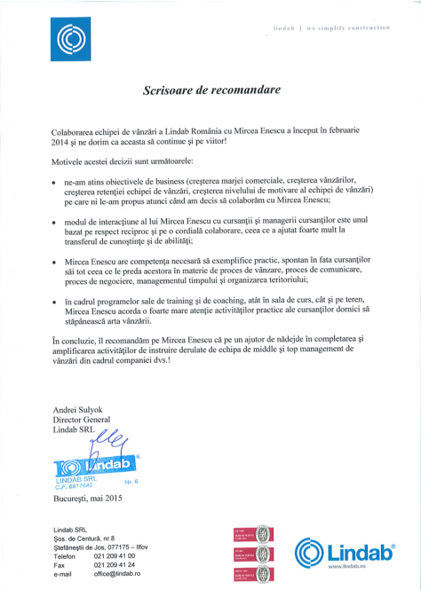 Scrisoare de recomandare Lindab Romania
